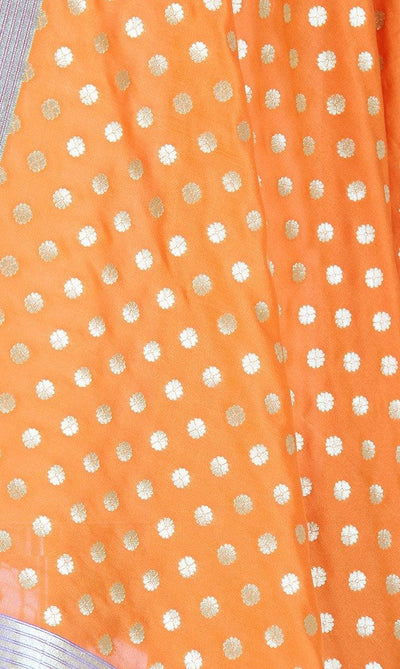 Orange Art Silk Banarasi Dupatta with small floral booti PCRVDAS112 (2) CLOSE UP