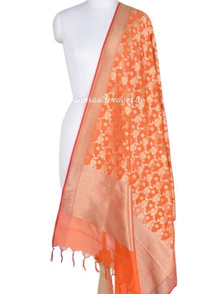 Orange Art Silk Banarasi dupatta with leaf motifs in artistic floral jaal (1) Main