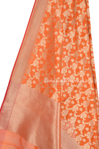 Orange Art Silk Banarasi dupatta with leaf motifs in artistic floral jaal (2) Close up