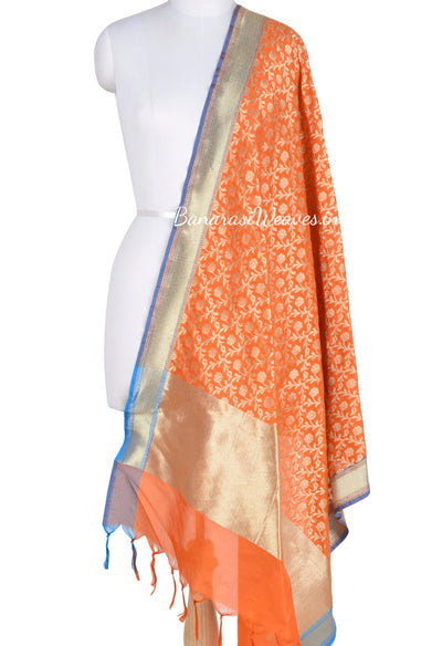 Orange Art Silk Banarasi dupatta with stylized flower jaal (1) Main