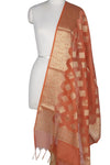 Orange Art Silk Cotton Banarasi Dupatta with diamond shape motifs