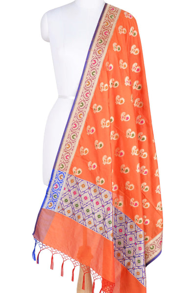 Orange Banarasi Dupatta with multi color peacock motifs with purple edge (1) Main