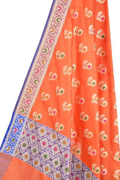 Orange Banarasi Dupatta with multi color peacock motifs (2) Close up