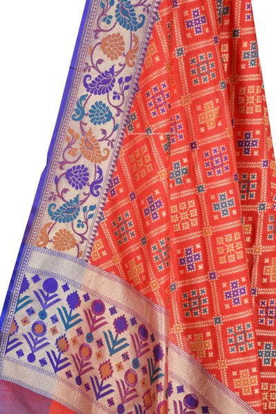 Orange Banarasi Dupatta with patan patola design and paithani border (2) Close up