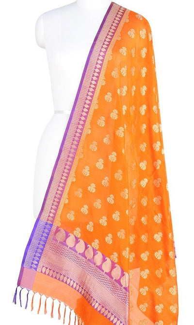 Orange Banarasi Silk Dupatta with dhakai floral motifs and zari work PCPBD03S07 (1) Main