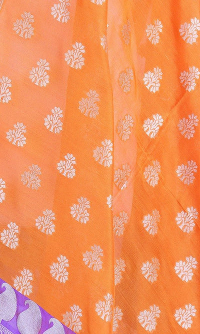 Orange Banarasi Silk Dupatta with dhakai floral motifs and zari work PCPBD03S07 (2) Close up