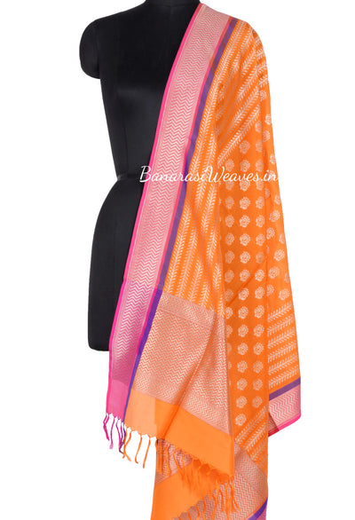 Orange Banarasi Silk Dupatta with dhakai flower motifs and zari work (1) Main