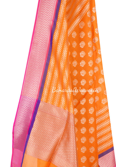 Orange Banarasi Silk Dupatta with dhakai flower motifs and zari work (2) Close up