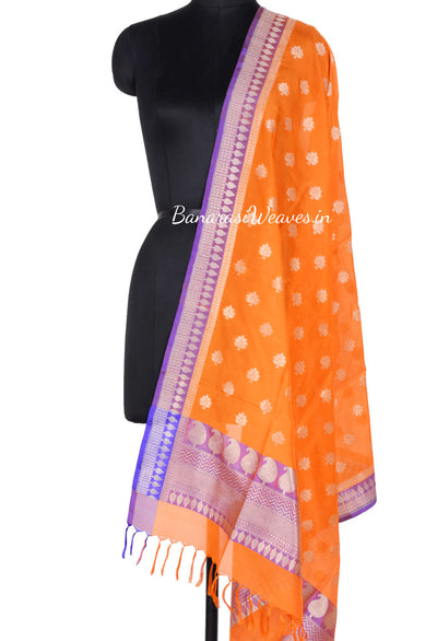 Orange Banarasi Silk Dupatta with floral motifs and zari work (1) Main