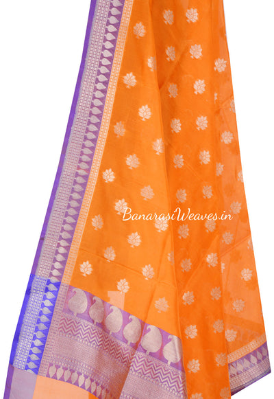 Orange Banarasi Silk Dupatta with floral motifs and zari work (2) Close up