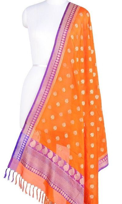 Orange Banarasi Silk Dupatta with floral motifs and zari work PCPBD03S06 (1) Main