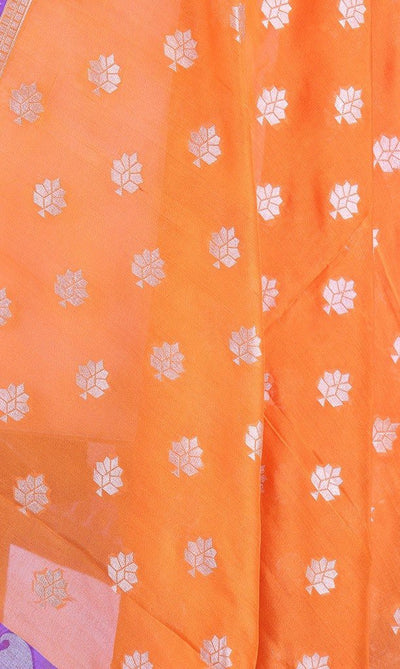 Orange Banarasi Silk Dupatta with floral motifs and zari work PCPBD03S06 (2) Close up