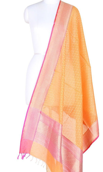Orange Silk Cotton Banarasi Dupatta with mini polka dots PCPBD02SC10 (1) Main
