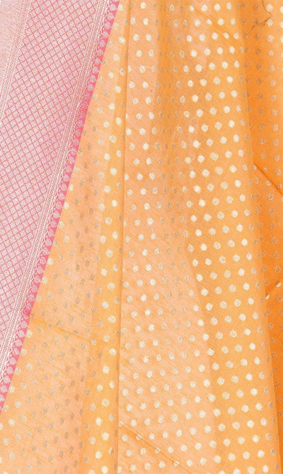 Orange Silk Cotton Banarasi Dupatta with mini polka dots PCPBD02SC10 (2) Close up