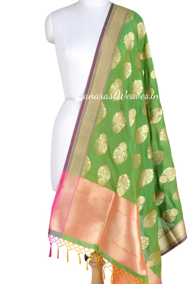 Parrot Green Art Silk Banarasi Dupatta with big flower pot motifs (1) Main