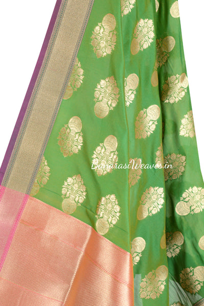 Parrot Green Art Silk Banarasi Dupatta with big flower pot motifs (2) Close up