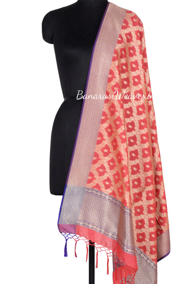 Peach Art Silk Banarasi Dupatta with floral jaal and paisley motifs (1) Main