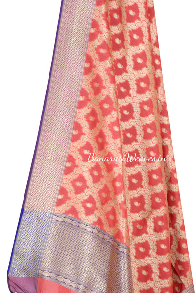 Peach Art Silk Banarasi Dupatta with floral jaal and paisley motifs (2) Close up