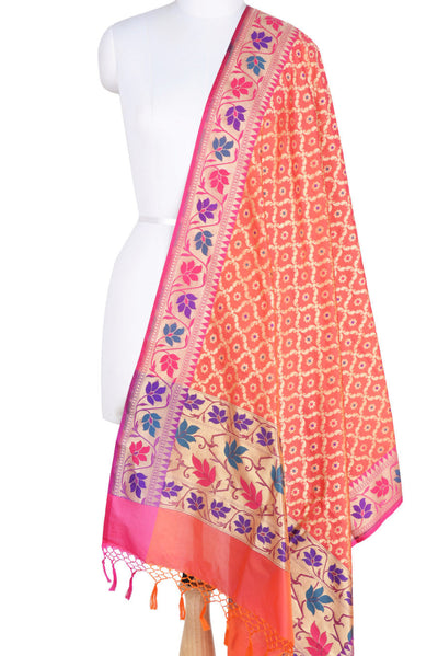 Peach Art Silk Banarasi Dupatta with leaf jaal and floral motifs (1) Main