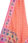 Peach Art Silk Banarasi Dupatta with leaf jaal and floral motifs (2) Close up