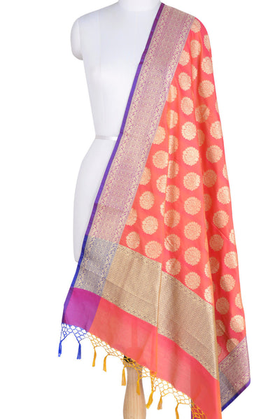 Peach Banarasi Dupatta with lotus motifs (1) Main