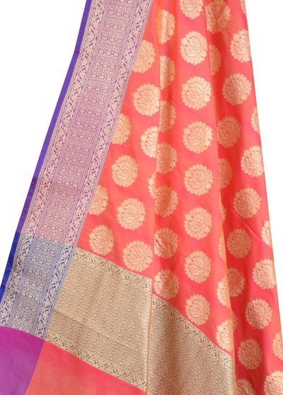 Peach Banarasi Dupatta with lotus motifs (2) Close up