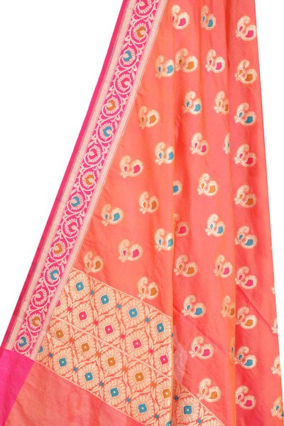 Peach Banarasi Dupatta with multi color peacock motifs (2) Close up