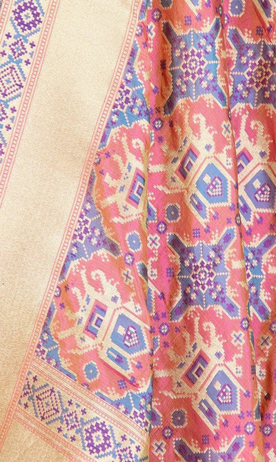 Peach Katan Silk Handwoven Banarasi Dupatta with patan patola pattern PCRVDKS01PD02 (2) Close up