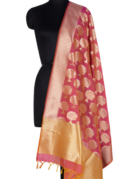 Peach Red Banarasi Dupatta with tree motifs (1) Main