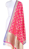 Pink-Orange Art Silk Banarasi Dupatta with bird motifs SSRVDAS521 (1) Main