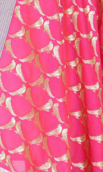 Pink-Orange Art Silk Banarasi Dupatta with bird motifs SSRVDAS521 (2) Close up