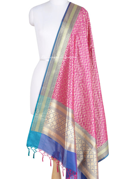 Pink Art Silk Banarasi Dupatta with chevron pattern (1) Main
