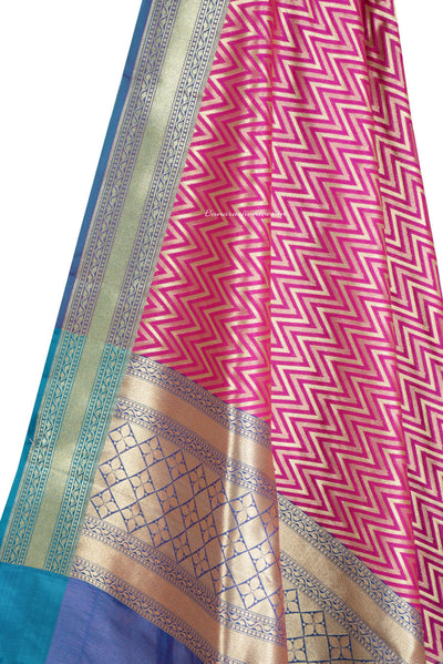 Pink Art Silk Banarasi Dupatta with chevron pattern (2) Close up