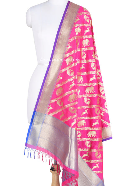 Pink Art Silk Banarasi Dupatta with diagonal animal strips (1) Main