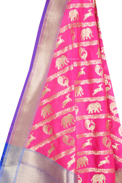 Pink Art Silk Banarasi Dupatta with diagonal animal strips (2) Close up