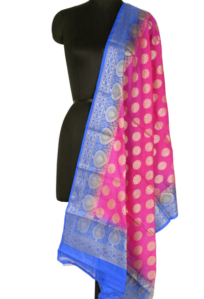 Pink Art Silk Banarasi Dupatta with flower motifs and leaf border (0040PRAFCS7000077PK)