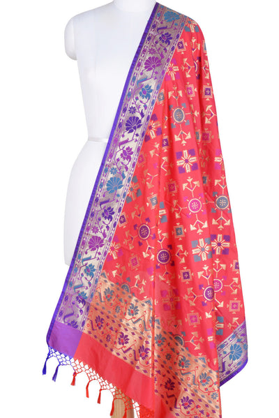 Pink Art Silk Banarasi Dupatta with geomatrical design (1) Main