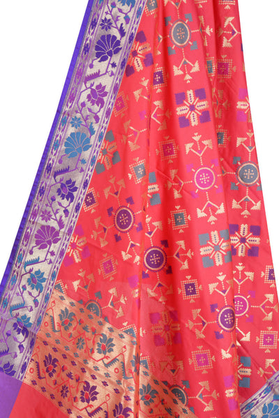 Pink Art Silk Banarasi Dupatta with geomatrical design (2) Close up