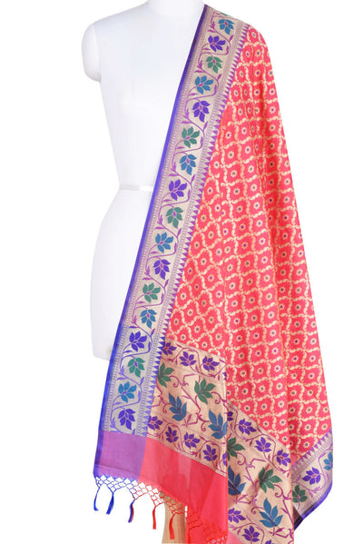 Pink Art Silk Banarasi Dupatta with leaf jaal and floral motifs (1) Main