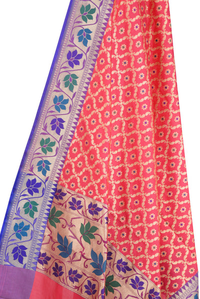 Pink Art Silk Banarasi Dupatta with leaf jaal and floral motifs (2) Close up
