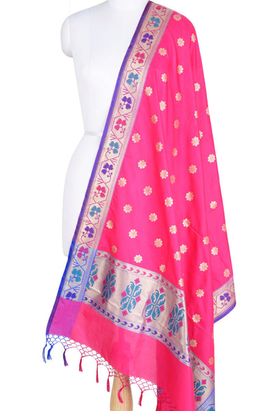 Pink Art Silk Banarasi Dupatta with multi color border with floral motif (1) Main