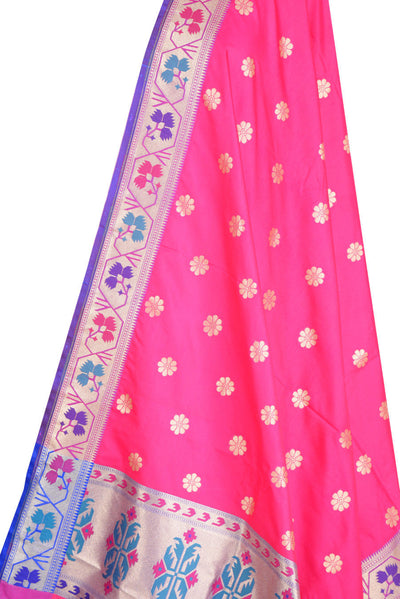 Pink Art Silk Banarasi Dupatta with multi color border with floral motif (2) Close up