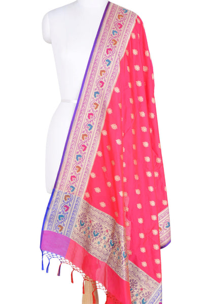 Pink Art Silk Banarasi Dupatta with multi color border with leaf motif (1) Main