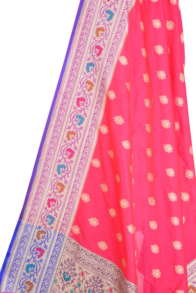 Pink Art Silk Banarasi Dupatta with multi color border with leaf motif (2) Close up