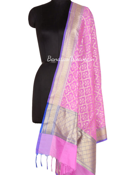 Pink Art Silk Banarasi Dupatta with zig zag grid pattern jaal (1) Main
