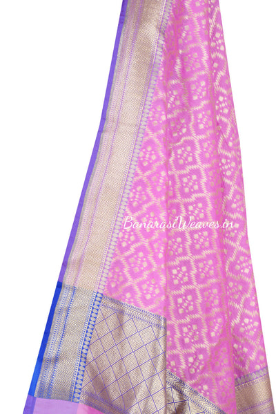 Pink Art Silk Banarasi Dupatta with zig zag grid pattern jaal (2) Close up
