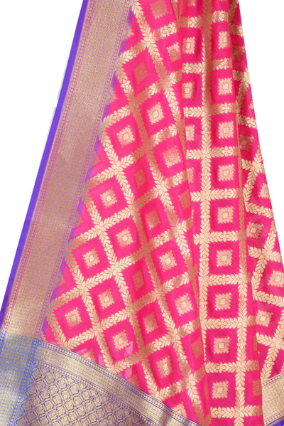 Pink Banarasi Dupatta with diamond shape motifs inside leaf jaal (2) Close up