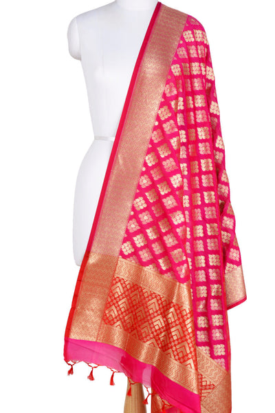 Pink Banarasi Dupatta with drop motifs arranged in diamond pattern (1) Main