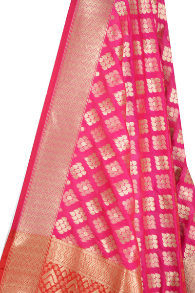 Pink Banarasi Dupatta with drop motifs arranged in diamond pattern (2) Close up