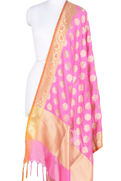 Pink Banarasi Dupatta with exquisite flower motifs (1) Main